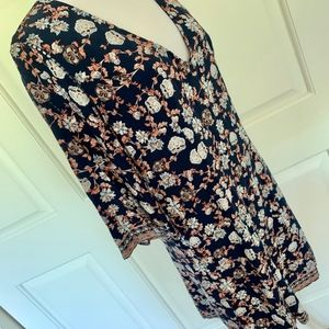 Altar'd State Dresses - NEW NAVY FLORAL MINI DRESS 3/4 SLEEVE FLOWY SHORT